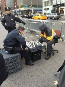 cop plays chess with black man