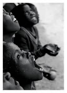 africans in rain